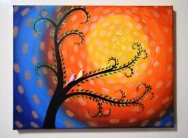 Beautiful Whimsical tree canvas acrylic painting with love birds *Handmade & handcrafted*