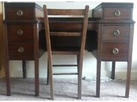 Dark Wood Desk and Chair - Beautiful and functional desk with lots of character and drawer storage