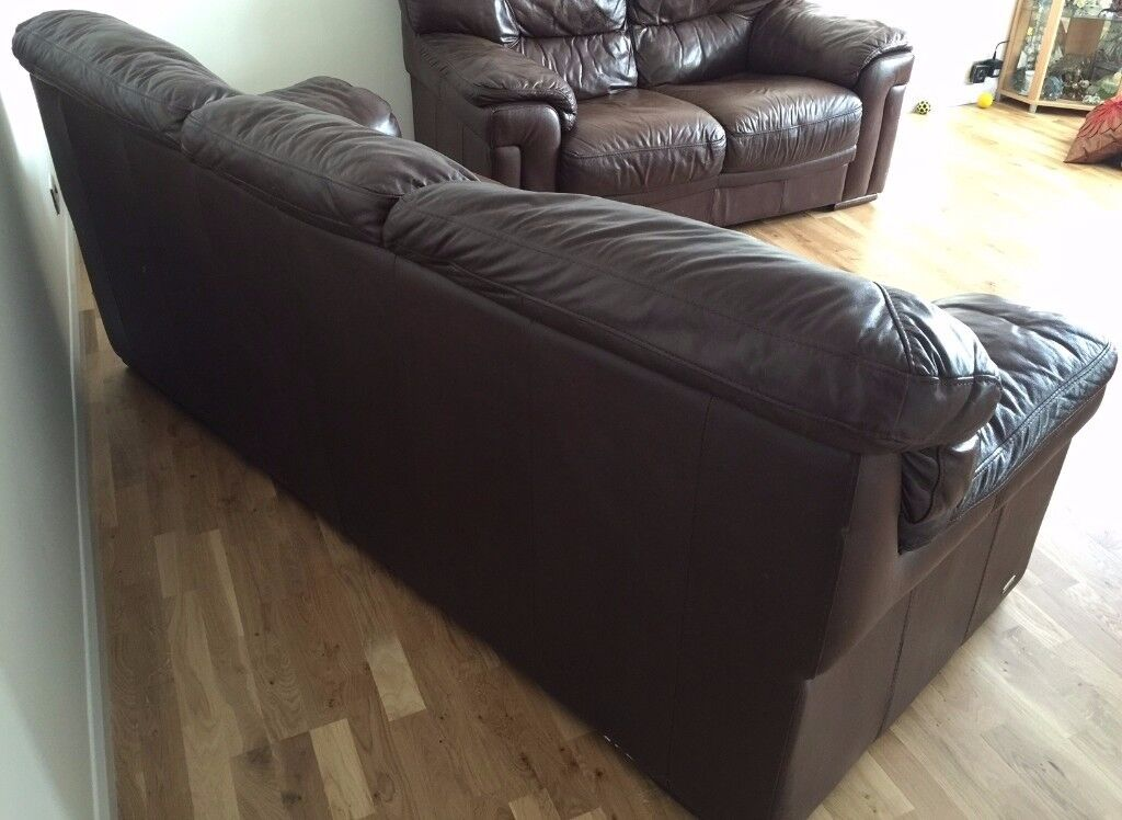 Violino Dark Brown Leather Sofa Set 3 Seater And 2 Seater