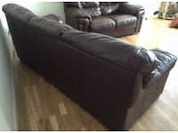 VIOLINO dark brown leather sofa set 3 seater and 2 seater Very good condition