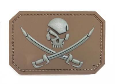 Parche táctico moral 3D PVC Calavera pirata coyote militar cinta trasera