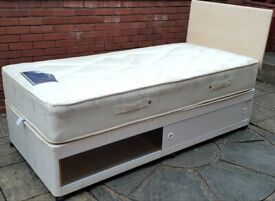 single divan base + top quality mattress. under-storage. Used, excellent condition (can sell separat