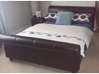 Double bed frame, side table, ottoman all for.