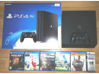 PS4 PRO 1TB Black with 5 games