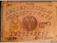 Genuine Blackcat hand made wooden custom Ouija Board with planchette Wiccan occult satanist