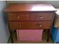 Mid 20th century chest of drawers solid wood with detail - retro / vintage - excellent condition