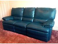 Leather 3 seater reclining sofa and reclining armchair