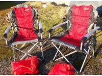 Red Commander camping chairs x 2 not used