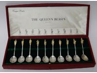 Very Rare Limited Edition Silver Queens Beasts 10 Spoon Set