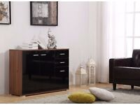 High Gloss Black on walnut 3 Doors 2 Drawers Sideboard / Cupboard / Buffet Solo / Chest