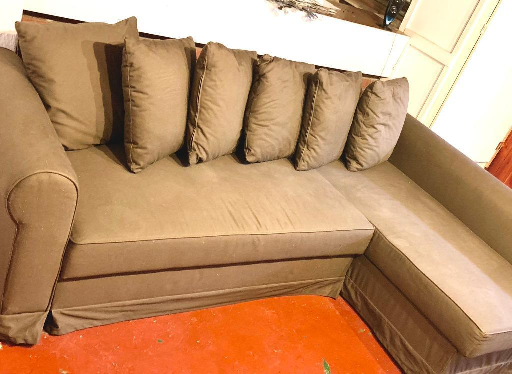 Ikea Corner Sofa Bed Brown Colour With Storage Moheda Good Condition Stain