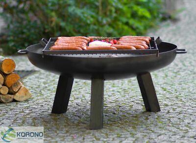 Feuerschale und Grillrost aus Stahl - Feuerkorb Grillfeuer Feuerstelle - Ø 80 cm