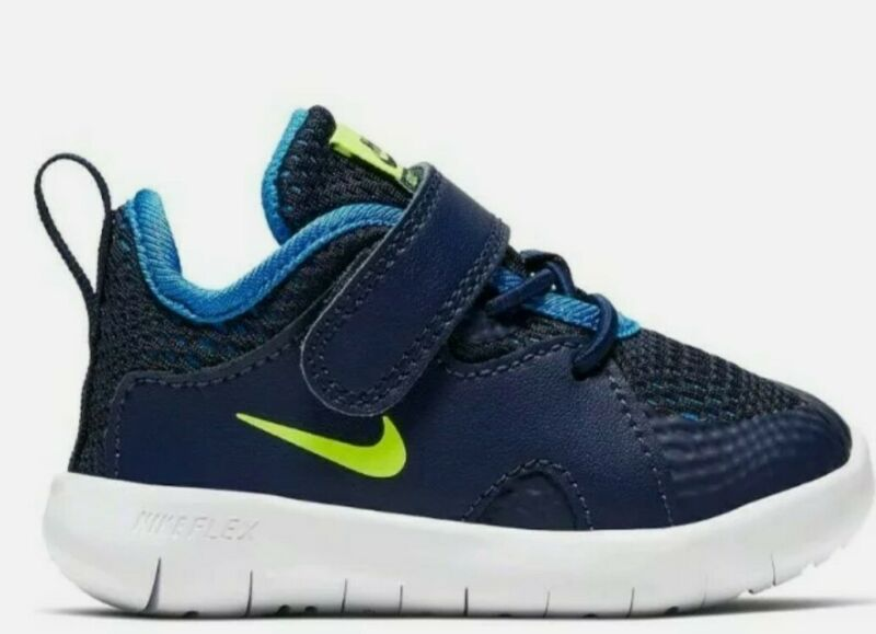 New Nike Flex Contact 3 Toddler Boys Athletic Shoe Midnight Navy Volt, Size: 5c