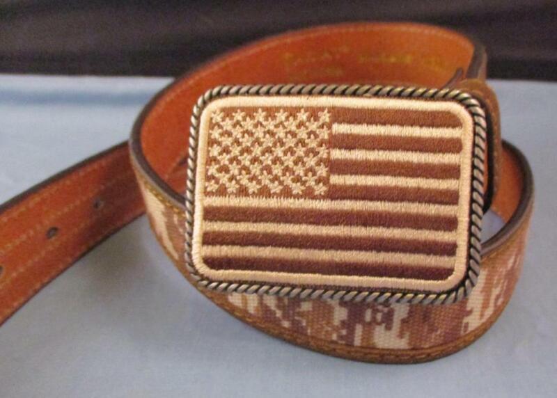 NEW Kids Ariat Brown Camo USA American Flag Patriot Belt Buckle 30