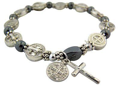 Silver Tone Saint Benedict Medal Hematite Bead Rosary Bracelet, 7 1/2 (Pearl Silver Rosary Bracelets)