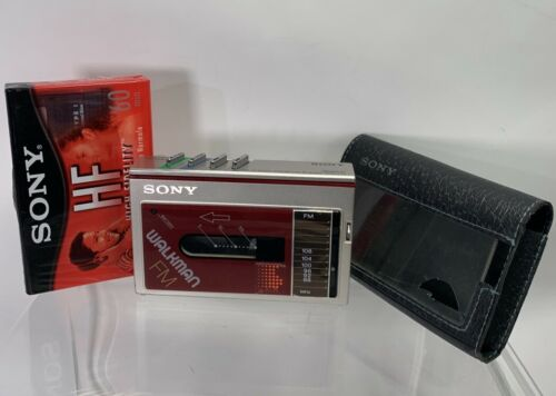 Vintage Sony Walkman WM-F10 Red w/ Case New Belt Made in Japan  - Working