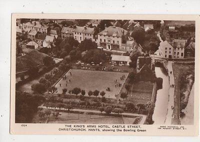 Kings Arms Hotel Castle St Christchurch Bowling Green Aerial RP Postcard 645b