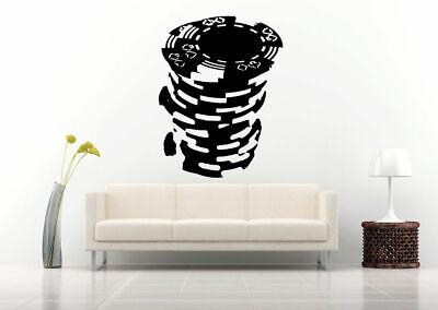 Wall Vinyl Sticker Decal Decor Room Design Casino Money Card Poker Chips bo2083