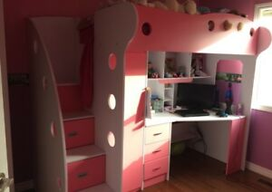 500 Pink&White bunk bed desk combo