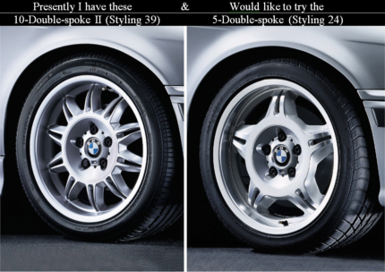 BMW E36 ///M or M3 staggered Double Spoke Light Alloy Wheels
