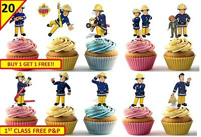 40 FIREMAN SAM Edible Cup Cake Wafer Toppers Birthday Decorations Kids STAND UP