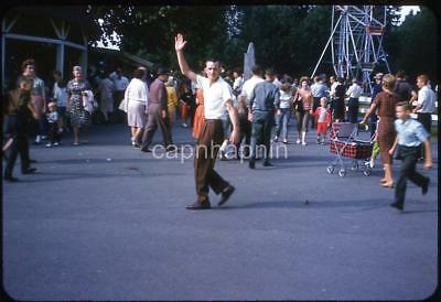 Greaser Guy Waves At Camera Fair Carnival Midway Vintage 1962 Slide Photo - Greaser Guy