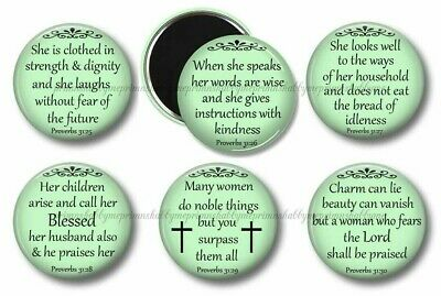 Christian Proverbs 31 Bible Verse Fridge Magnets Set of 6 Party Favors Gifts #1