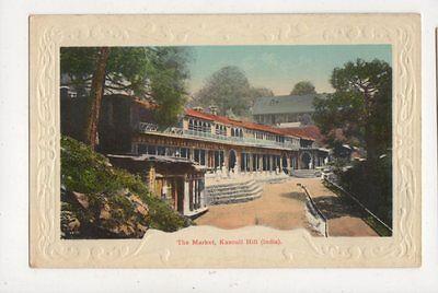 The Market Kasouli Hill India Vintage Postcard 855a