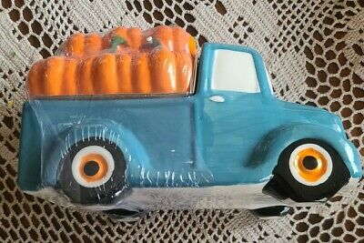 Teal Truck w/Pumpkin Lid ~ Ceramic Cookie Jar ~ Hand-painted ~ Country Farmhouse