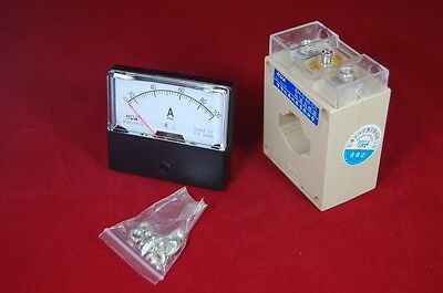 Ac 100a Analog Ammeter Panel Amp Current Meter 0-100a 6070mm With Transformer