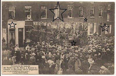 TRES RARE - CPA - Concours de beauté du Faubourg de Mons à Braine-le-Comte 1912