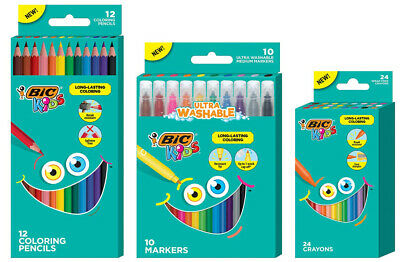 BIC Kids Coloring Combo Pack, Washable, Long-Lasting, Markers, Pencils, & Crayon