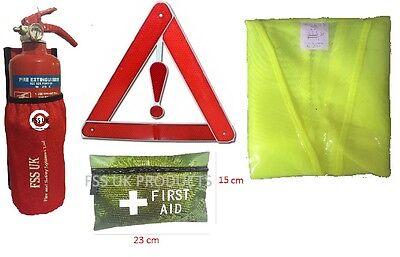 CAR/VEHICLE SAFETY KIT2.TAXIS CARAVANS.EXTINGUISHER HOLD+HI VIZ+1ST AID+TRIANGLE