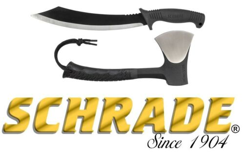 "Schrade 11"" Axe & 18"" Machete Combo 3Cr13 Steel Blades Rubber Handles Black Camp"