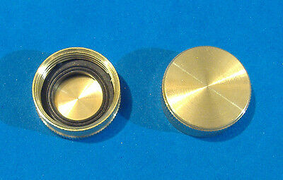 LOT OF TWO BRASS GARDEN HOSE END CAPS WITH HOSE WASHER