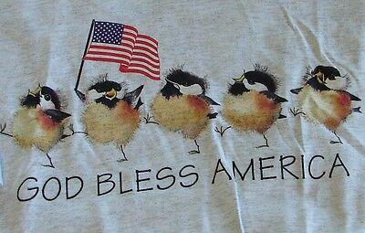 God Bless America Baby Birds Tee Shirt  Grey Adult Large