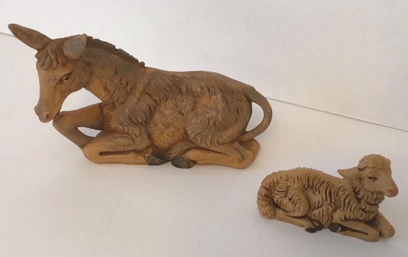 Vtg Lot of Fontanini Nativity Plastic Animals Italy 1980s Ox Donkey And Lamb