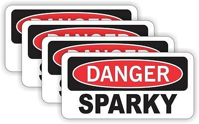 4pk Danger Sparky Funny Hard Hat Stickers Electrician Welder Helmet Decals