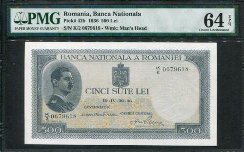 Romania 1936, 500 Lei, P42a, PMG 64 EPQ UNC