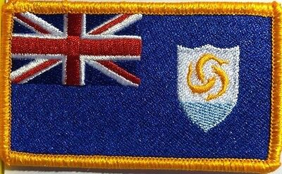 ANGUILLA Flag Embroidered Iron-On Patch Military Gold  Emblem - Anguilla Flag