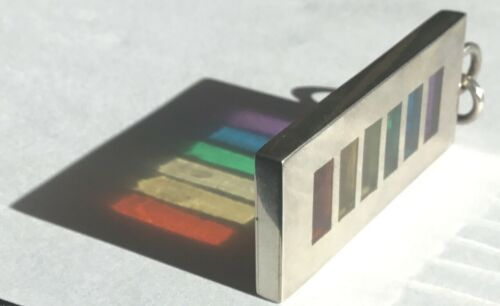Vint. Modernist Artisan Signed RF Sterling Pendant Geometric Rainbow Color Glass
