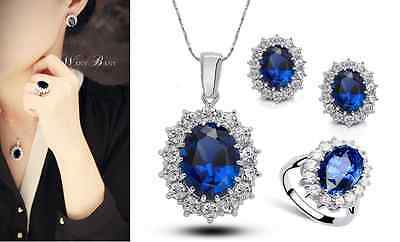 Royal Silver Sapphire Blue/CZ Engagement Jewelry Set: Necklace Earring & -