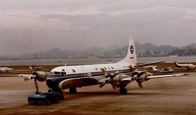 Varig Airlines - Varig Airlines Lockheed Electra II at Santos Dumont Airport 1988