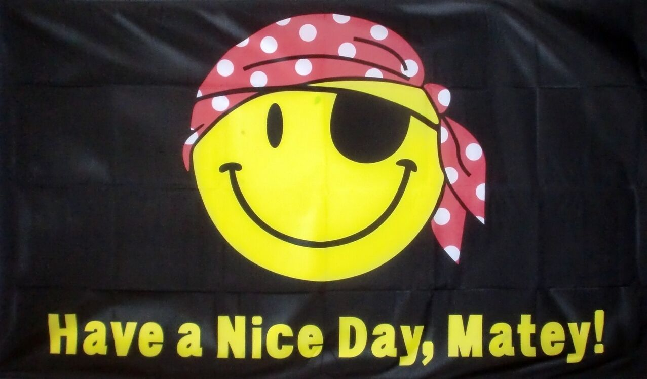Have A Nice Day Matey Flag 3 x 2 FT Pirate Skull Smile Face Banner