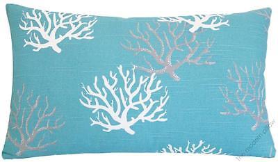 Aqua Blue Coral Decorative Throw Pillow Cover / Cushion Cover 12x20