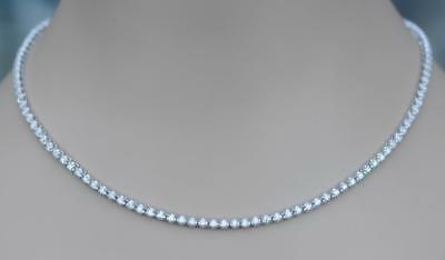 - Diamond Tennis Necklace 6ct Eternity White 14k Gold Natural Sparkle