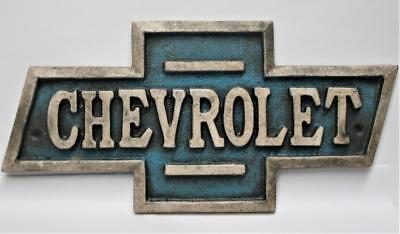 Classy - Cast Iron Chevrolet Plaque - Bow Tie Shape -Raised Letters - - Letter Borders