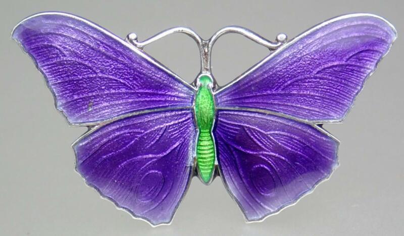 Pretty Vintage Sterling Silver John Atkins & Sons Purple Enamel Butterfly Brooch