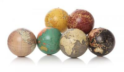 S/6 Mini World Globes Map Of The Earth Atlas Geography Vintage Mens Gift 7cm