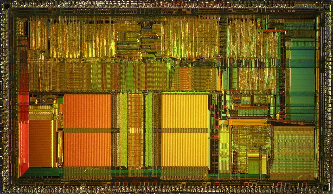 Vintage Intel 80486DX2 CPU die: Wafer was diced but dies were never packaged.